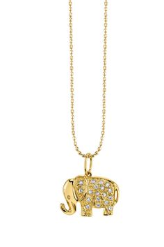 Small Yellow-Gold Diamond Elephant Necklace