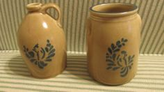 "PFALTZGRAFF FOLK ART BLUE BIRD SET OF 2 MINI JUG and JAR - 3.5"" TALL - ebay.  14.00"