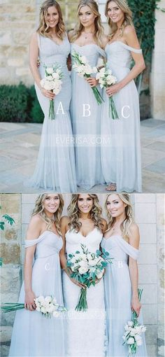85cdbdee962 Simple Pale Blue Different Styles Empire Chiffon Bridesmaid Dresses Long Prom  Dress