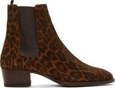 Saint Laurent: Brown Suede Leopard Print Wyatt Boots | SSENSE