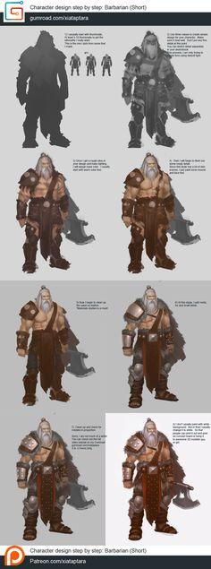 Barbarian character design step by step tutorial by XiaTaptara.deviantart.com on @DeviantArt
