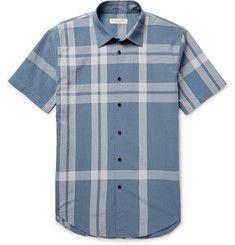 Burberry - London Slim-Fit Checked Cotton-Seersucker Shirt Designer Casual  Shirts, Seersucker 6e7bd12455a