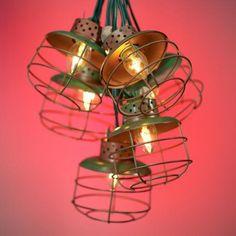 Metal Cage String Lights (11.5' w/ 10 lanterns, green cord) $30