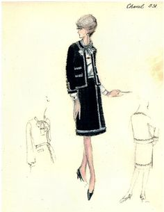 Chanel suit from (Source: Bergdorf Goodman Custom Salon sketch collection, 60 Fashion, Chanel Fashion, Fashion Images, Fashion History, Vintage Fashion, Chanel Outfit, Chanel Style, Coco Chanel, Chanel Bags