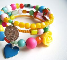 Wire wrapped memory bracelet bohemian bright by SillyOldSuitcase