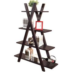 Display your books, photos and treasures on this stylish and unique X-shape bookcase, showcasing 4 leveled shelves for all your storage needs.   ...