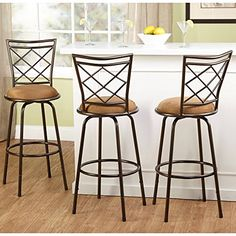 Yopih 3Piece Avery Ajustable Height Barstool Metal BarstoolBrown ** Learn more by visiting the image link.Note:It is affiliate link to Amazon.