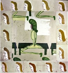 ROSE WYLIE Sitting on a Bench with Border (film notes), Oil on canvas, 282 x 242 cm. Courtesy of the artist and Union Gallery, London Cool Paintings, Painting Prints, Painting & Drawing, Rose Wylie, Royal College Of Art, Abstract Painters, 3d Max, Modern Artists, Fantastic Art