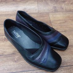 SIZE-UK-4-5-HOTTER-SABRINA-BLACK-LEATHER-SLIP-ON-COMFORT-SHOES-WITH-BLUE-PURPLE
