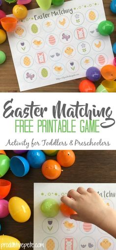 Looking for an easy Easter Activity for Kids? Try this free printable Easter Matching Game for Toddlers and Preschoolers! The best part (besides being free) is that it uses plastic Easter Eggs! #easter #eastereggs #eastergames #toddlers #preschool #memory