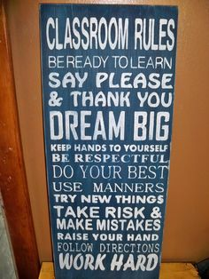 Teacher Classroom Rules Large Subway Art Style Sign Primitive Shabby Chic @Katie Chung !!!! for your teacher things!