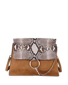 Chloe Fay Python Flap Bag