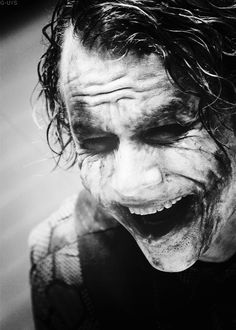"The Joker. <3 when i watched this part of the movie with my friend she said ""you can really see the pain be hind his laghing"" and i gave her a look like she was crazy and super smart"