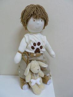 Boneco de pano Mateus com cachorrinho