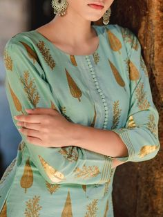 Buy Teal Green Block Printed Chanderi Kurta with Cotton Crushed Skirt and Red Dupatta - Set of 3 onl Printed Kurti Designs, Silk Kurti Designs, Simple Kurta Designs, Salwar Neck Designs, Neck Designs For Suits, Kurta Neck Design, Neckline Designs, Sleeves Designs For Dresses, Dress Neck Designs