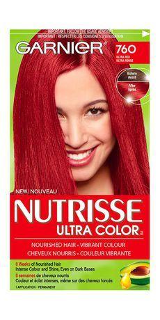Box Dye color Garnier Nutrisse Ultra Color 760 Ultra Red Ultra Red Natural Treatment of Hair Loss Th Best Red Hair Dye, Bright Red Hair Dye, Dark Red Hair Dye, Vibrant Red Hair, Red Bob Hair, Dyed Red Hair, Violet Hair, Dark Hair, Brown Hair