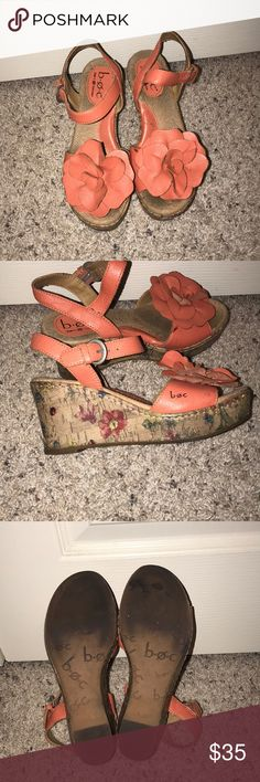 Born Concept Wedge Shoes B•O•C Wedge shoes with orange flower at toes. Cork wedge Size=6 Color=orange and tan Super comfy Wedges to add to a spring or summer outfit! Born Shoes Wedges