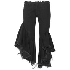 Marques' Almeida Ruffled frayed low-rise flared jeans ($450) ❤ liked on Polyvore featuring jeans, destroyed jeans, destroyed flare jeans, destructed jeans, cropped flare jeans and ripped jeans