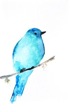 Blue Bird Watercolor painting PRINT / Aqua blue by ArtCornerShop, $10.00
