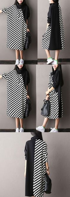Bat sleeve striped dress Source by Hijab Fashion, Diy Fashion, Fashion Dresses, Womens Fashion, Fashion Design, Simple Dresses, Casual Dresses, Sewing Dress, Diy Clothes