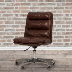 Hallam Leather Office Chair Cutout Brown Leather Office Chair, Leather Club Chairs, Swivel Office Chair, Desk Chair, Home Desk, Soft Seating, Real Leather, Upholstery, Office Furniture