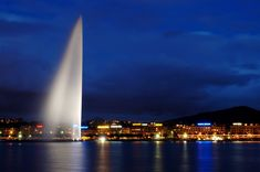 Jet Fountain in Geneva, Switzerland~ Admire the amazing Jet d'Eau, a large water-jet fountain situated where Lake Geneva empties into the Rhône River and visible throughout the city. Waterfall Fountain, Engineering Projects, Lake Geneva, River, Pace, Building, Grande, Geneva Switzerland, Terra