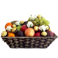 Gift Baskets + Ferrero Chocolates + Pink Silk Roses - Delivered Free - made of natural seagrass and filled with seasonal fruits