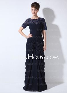 f82885443d  US  142.99  Sheath Column Scoop Neck Sweep Train Chiffon Lace Mother of  the Bride Dress With Ruffle Beading Sequins - JenJenHouse