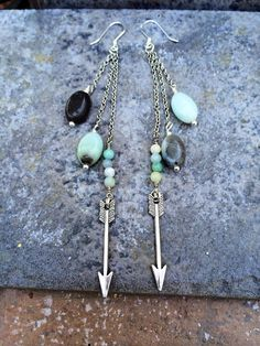 THE AMAZONITE and ARROW Earrings //  Petite by ShopParadigm, $38.00
