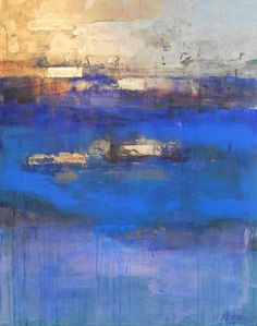Buy Prints of Winter Tide, a Gold leaf on Canvas by Magdalena Morey from Spain. It portrays: Seascape, relevant to: sea, seascape, blue, sun, sunshine, vibrant, yellow, gold leaf, cobalt, abstract, gold 80 x 100cm Mixed media using gold leaf on canvas  This painting captures a sense of being in the crisp morning air under wintry skies and feeling the first warmth of the sun as it pushes through the sea mists.  This original composition uses a unique combination of gold leaf, acrylic and…
