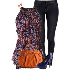 """Orange & Blue"" by bitbyacullen on Polyvore"