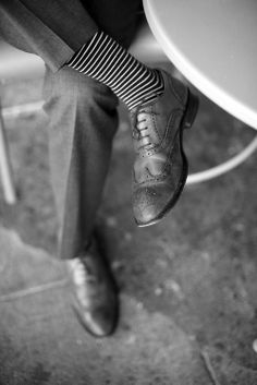 on sale 8b158 1aacd stripes and wing tips Gentleman Style, True Gentleman, Fun Socks, Socks Men,