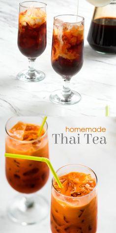 Thai Tea Recipes, Milk Tea Recipes, Iced Tea Recipes, Coctails Recipes, Coffee Recipes, Best Iced Tea Recipe, Fruit Tea Recipes, Summer Drink Recipes, Yummy Drinks