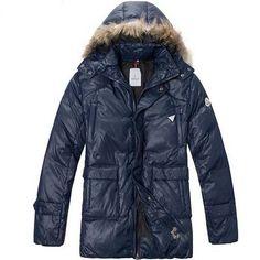 Moncler Mens Long Down Coat Fur Collar Navy Blue [2900007] - 167.20 :