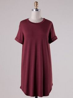 Down To A T-Shirt Dress. $44. This basic t-shirt dress features cuffed sleeves, round neck, and loose fit. 93% Modal 7% Spandex.