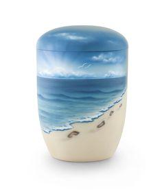 Zee-urn voetsporen in zand kust zee - Zee Urnen