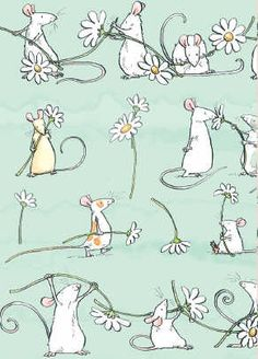 Cute Little Mice With Daisies ☀ღ Pretty Illustration