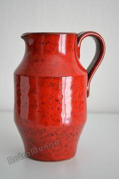 Vintage Italian red ceramic pitcher vase signed by RetroMungo, €17.50