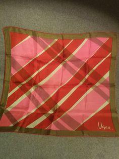 "Vera Neumann Designer Signature Ladies Silk Scarf 21"" Square Tan,Pink,Red Fall #veraneumann #Scarf"