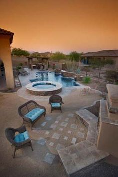 #Award Winning #Pool #Landscape #Travertine, #Spa, #Outdoor #Living-room #Fireplace #Design calpool.com