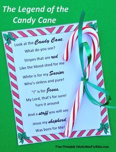 Legend of the Candy Cane Printable Free printable - Legend of the Candy Cane holiday story for children and adults. Two types of printable cards to choose from. Christmas Poems, Preschool Christmas, Christmas Crafts For Kids, Christmas Activities, A Christmas Story, Xmas Crafts, Christmas Printables, Christmas Traditions, Christmas Holidays