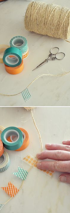 Easy Homemade Scrapbook Ideas | Washi Tape Banner by DIY Ready at diyready.com/...                                                                                                                                                                                 Más