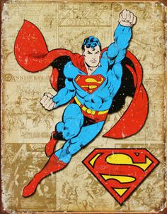 Superman Weathered Panels Distressed Retro Vintage Tin Sign - comics for mom dresses Héros Dc Comics, Superman Action Comics, Superman Comic Books, Comic Books Art, Comic Art, Logo Superman, Superman Poster, Superman Art, Superhero Poster