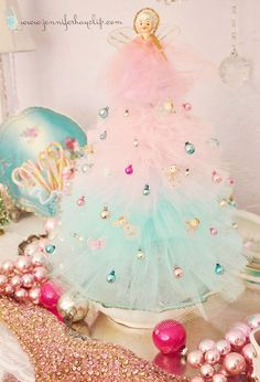 The prettiest handmade tulle Christmas trees ! Vintage tulle tree covered in tiny ornaments- love, love, love these ! Tulle Christmas Trees, Noel Christmas, Primitive Christmas, All Things Christmas, Winter Christmas, Christmas Decorations, Christmas Ornaments, Homemade Christmas, Pink Christmas Tree
