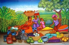 Solve Market Day - Naif Art jigsaw puzzle online with 96 pieces Afrique Art, African Art Paintings, Haitian Art, Caribbean Art, Tropical Art, Black Art, Painting On Wood, All Art, Female Art