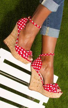 979af71200a Polka dot wedges Summer Wedges Shoes