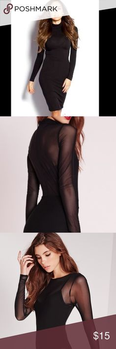 """Black Sheer Overlay Midi Dress COMPLETELY SEE THRU (see 2nd photo) Length represented in first photo. Worn once, cut tag off the back because it was bothering me, in great condition, pretty sure it's a XS, but it's stretchy, super cute with black bra or body suit under it. I am 5'4"""", goes to just below my knee BCBGMaxAzria Dresses Midi"""