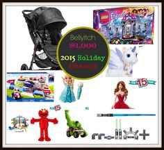 Enter to win $1000 in gifts for kids (10 prizes - 10 winners).  Prizes include a Baby Jogger Citi Mini GT Stroller, a Hulk Smash RC Vehicle, a Lego Friends Pop Star Show Stage, a FurReal Friends Star Lilly the Unicorn, a 2015 Holiday Barbie Doll, a Star Wars Signature Lightsaber, a Disney Frozen Sing Along Elsa Doll, a Paw Patroller, a Hot Wheels Ultimate Auto Garage, and a Play All Day Elmo.  The giveaway is open to residents of the US/CAN only and ends December 10, 2015.