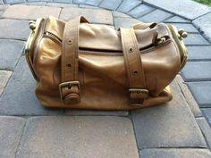 Vintage 1960s Metal Tag Coach Bonnie Cashin Double Kisslock Tan Duffle Handbag #Coach