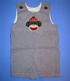 Baby or toddler jon jon  - Embroidery and appliqued boys sock monkey (Or any other design) on Etsy, $24.00